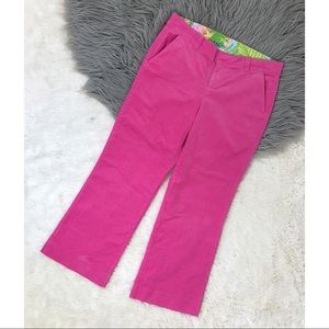Lilly Pulitzer Pink Cropped Corduroy Pant Wide Leg